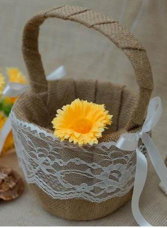 Jute Burlap Flower Girl Basket