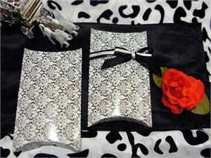 Damask Pillow shaped favor boxes set of 100