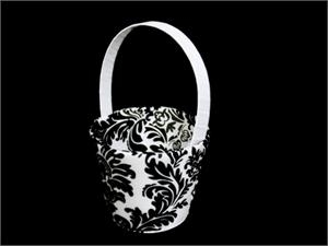 Black and white flowergirl basket