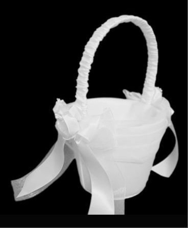 Satin Flower Girl Basket with Rose Buds