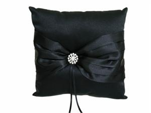 Black satin ring pillow