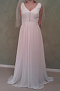 Australian made white chiffon and diamonte wedding dress, size 10