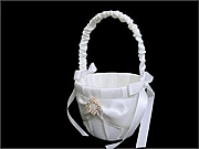 Satin Flower Girl Basket with Diamonte Buckle