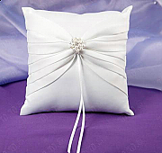 Satin ring pillow with pearl detailing