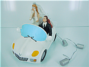 Just Married Cake topper with car and cans