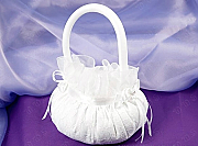 Satin Flower Girl Basket with Summer Lace