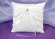 Satin Ring Pillow with Rhinestone Detail