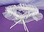 Garter -satin with rhinestone hearts