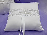 Satin ring pillow with lace detail