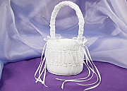 Satin Flower Girl Basket with Organza and Embroidery